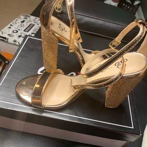 Rose Gold Block Diamonette Heels